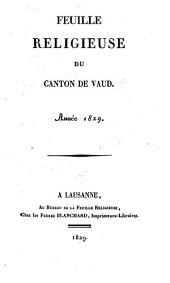 Feuille religieuse du Canton de Vaud: Volume4