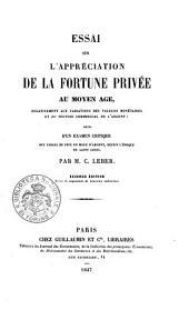 Essai sur l'appréciation de la fortune privée au Moyen Âge