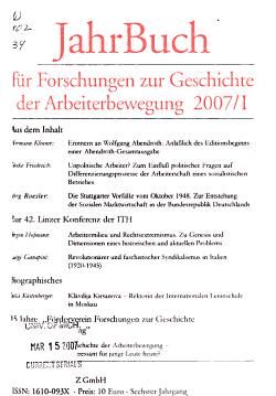 Jahrbuch f  r Forschungen zur Geschichte der Arbeiterbewegung PDF