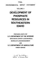 Development of Phosphate Resources in Southeastern Idaho PDF