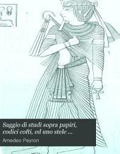 Saggio di studi sopra papiri, codici cofti, ed uno stele trilingue del Regio Museo Egiziano