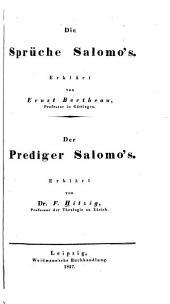 Die Sprüche Salomo's