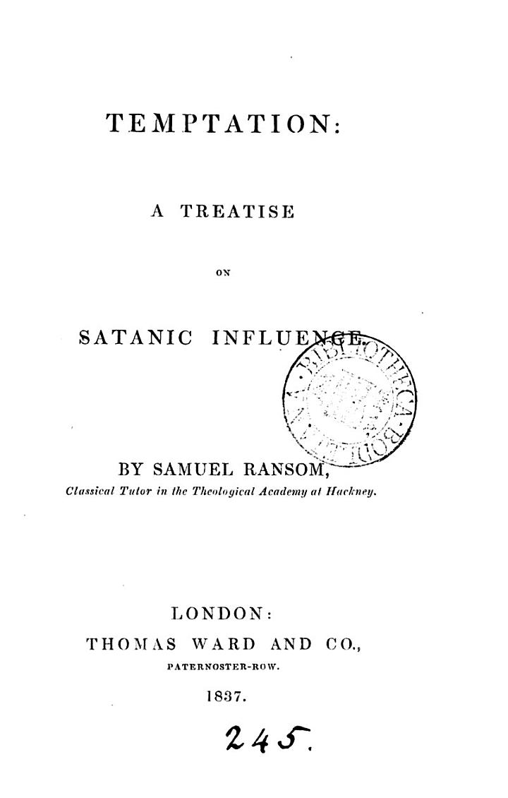 Temptation, a treatise on Satanic influence