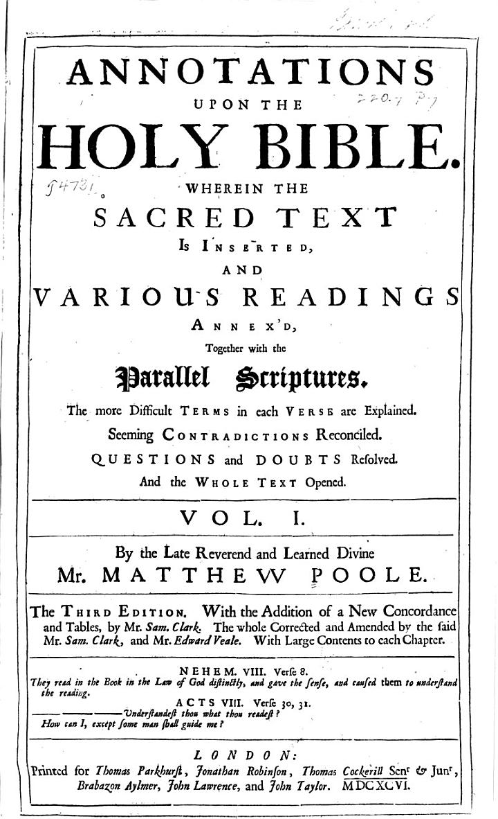 Annotations Upon the Holy Bible