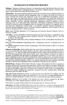 Mathematics of Operations Research PDF