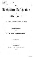 Das K  nigliche Hoftheater in Stuttgart PDF