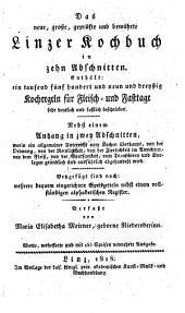 Das neue ... Linzer Kochbuch in 10 Abschnitten