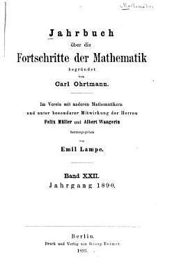 Jahrbuch   ber die Fortschritte der Mathematik PDF