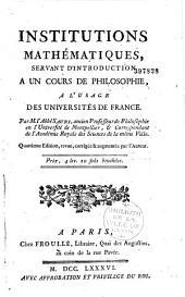 Institutions mathématiques servant d'introduction à un cours de philosophie