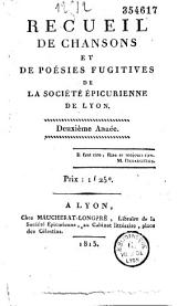 Recueil de chansons et de poésies fugitives de la Société épicurienne de Lyon