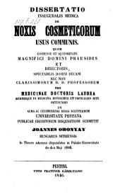 A közhaszmi szepltöszerek artalmarol. De noxis cosmeticorum usus communis. (hung.)