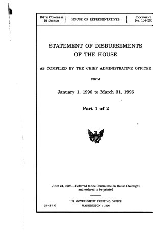 Statement of Disbursements of the House as Compiled by the Chief Administrative Officer from