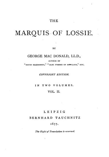 The Marquis of Lossie PDF