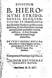 Epistolae ¬B. ¬Hieronymi ¬Stridonenesis, ¬eloquentissimi ¬et ¬praestanissimi ¬ecclesiae ¬doctoris: in libros tres