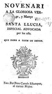 Novenari a la gloriosa Verge y Martyr Santa Salucia ...