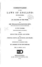 Commentaries on the Laws of England: In Four Books; with an Analysis of the Work