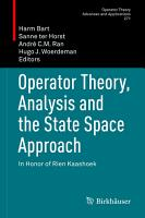 Operator Theory  Analysis and the State Space Approach PDF