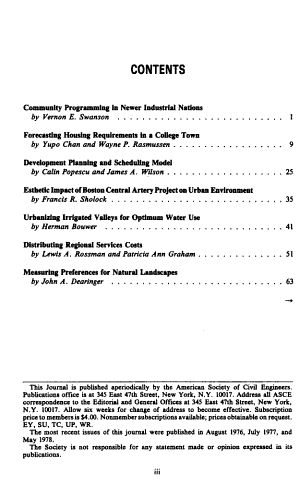 Journal of the Urban Planning and Development Division