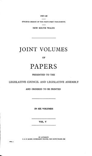 Joint Volumes of Papers Presented to the Legislative Council and Legislative Assembly