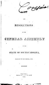 Reports and Resolutions of South Carolina to the General Assembly