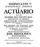 Disputatio Inauguralis Juridica De Actuario