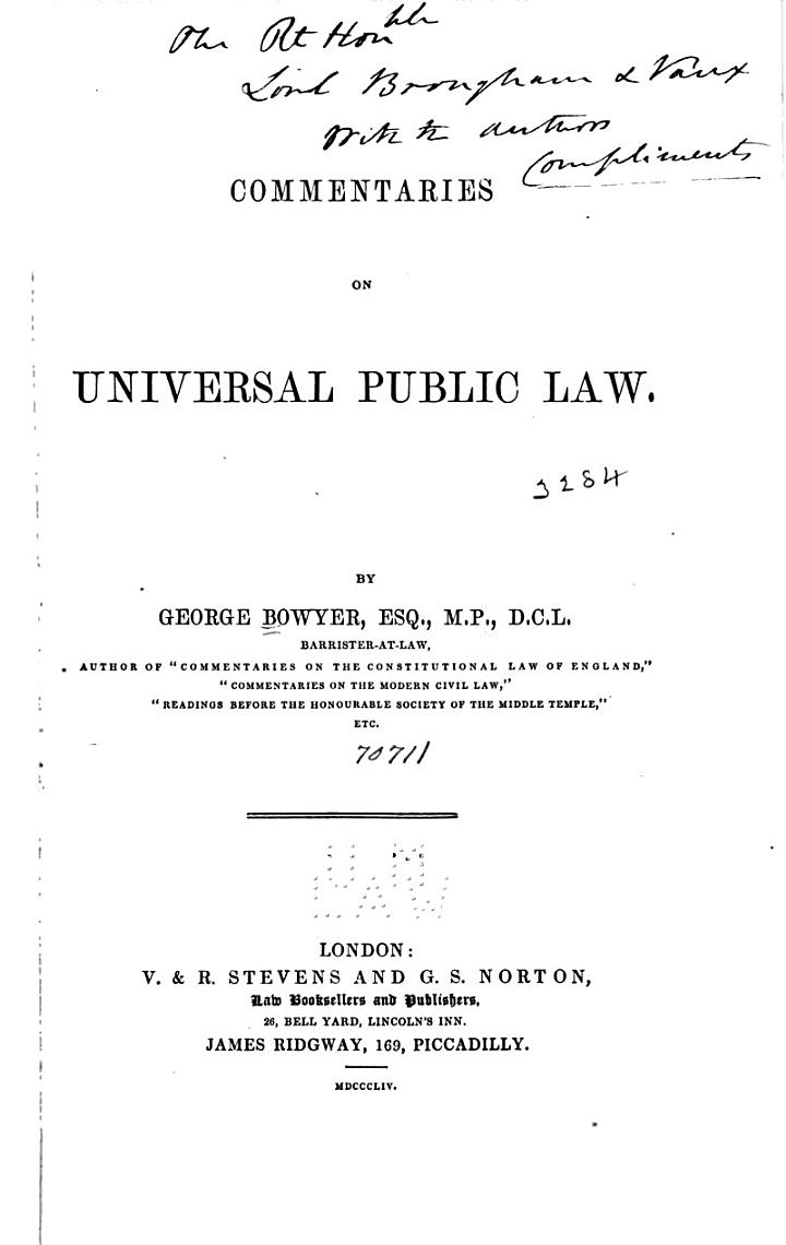 Commentaries on Universal Public Law