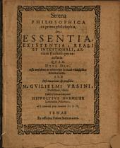 Strena philosophica ex prima philosophia, de essentia, existentia, reali et intentionali, artiu studiosis pernecessaria