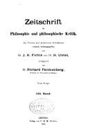 Zeitschrift f  r Philosophie und Philosophische Kritik vormals Fichte Ulricische Zeitschrift PDF