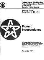 Project Independence  Houston  Texas  Sept  16 20  1974 PDF