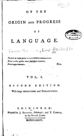 Of the Origin and Progress of Language PDF