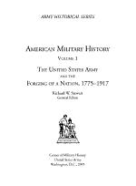 American Military History, Volume I
