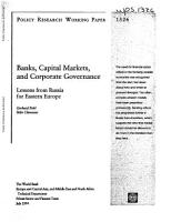 Banks  Capital Markets and Corporate Governance  PDF