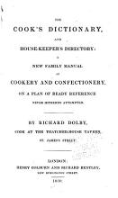 The Cook s Dictionary and House keeper s Directory PDF