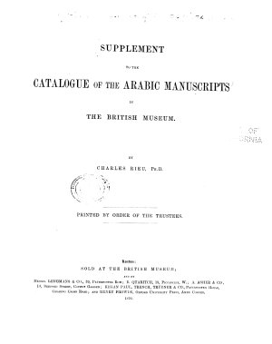 Supplement of the Catalogue of the Arabic Manuscripts in the British Museum PDF