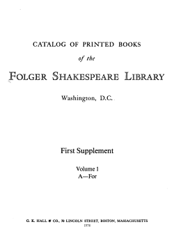 Catalog of Printed Books of the Folger Shakespeare Library  Washington  D  C    First Supplement PDF