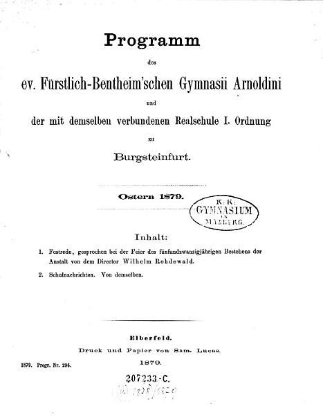 Programm Des Evangelischen Furstlich Bentheimschen Gymnasii Arnoldini Zu Burgsteinfurt