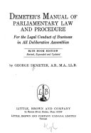 Demeter's Manual of Parliamentary Law and Procedure