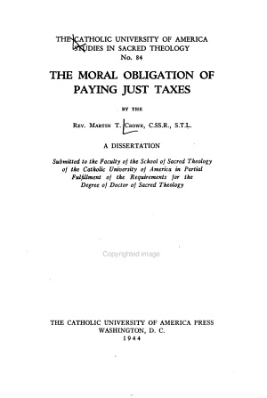 The Moral Obligation of Paying Just Taxes PDF