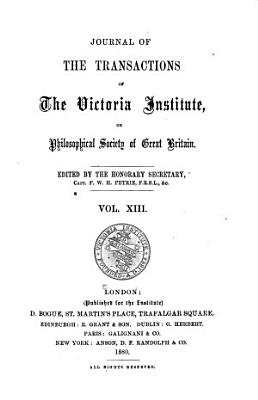 Journal of the Transactions of the Victoria Institute  Or Philosophical Society of Great Britain PDF