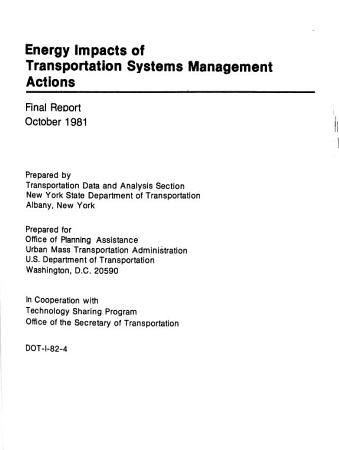Energy Impacts of Transportation Systems Management Actions PDF