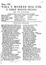 Vida y muerte del Cid, y noble Martin Pelaez. De un I. F. de Zarate