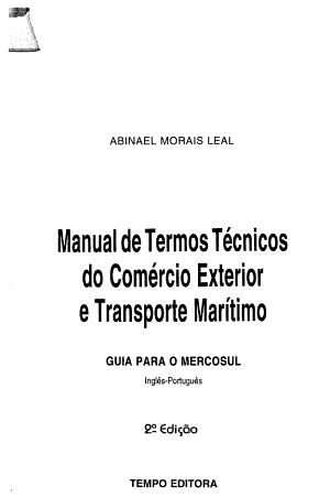 Manual de termos t  cnicos do com  rcio exterior e transporte mar  timo
