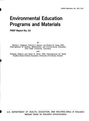 Environmental Education Programs and Materials PDF