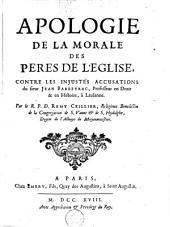 Apologie de la morale des Pères de l'Eglise contre les injustes accusations du sieur Jean Barbeyrac