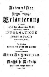 Memorial des Priors und Capituls der ... Abtey Reichenau an eine ... allgemeine Reichsversammlung die von Seiten des Hochstifts Constanz fortdauernde Beschwerden betreffend