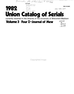 Union Catalog of Serials Currently Received in the Libraries of the University of Wisconsin  Madison PDF
