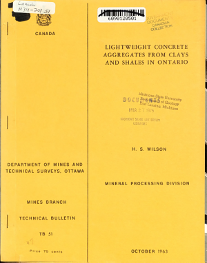 Lightweight Concrete Aggregates from Clays and Shales in Ontario