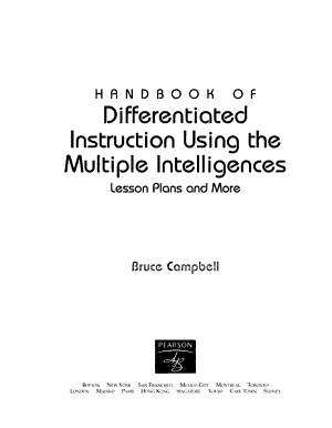 Handbook of Differentiated Instruction Using the Multiple Intelligences