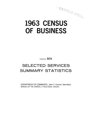 Selected services, summary statistics