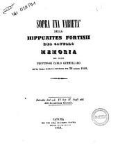 Sopra una varietà della Hippurites Fortisii del Catullo memoria del socio professore Carlo Gemmellaro ...